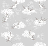 Cute seamless swallow and cloud pattern — Stock Vector