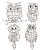Set of cute owls. — Vecteur