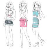 Illustrazione di moda giovane ragazze — Vettoriale Stock