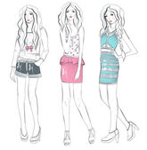 Ungt mode flickor illustration — Stockvektor