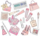 Las mujeres los zapatos, maquillaje, cosméticos y bolsas de conjunto de elementos. — Vector de stock