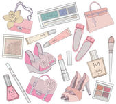 Women shoes, makeup,cosmetic and bags element set. — Vector de stock