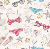 Cute summer abstract pattern. Seamless pattern with swimsuits — ストックベクタ