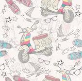 可爱 grunge 抽象图案。无缝模式与踏板车 — 图库矢量图片