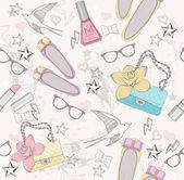Patrón sin costuras linda moda para niñas. patrón con zapatos, bolso — Vector de stock