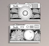 Retro photo cameras set. Vintage camera — Vector de stock