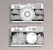 Retro photo cameras set. Vintage camera — Stock Vector
