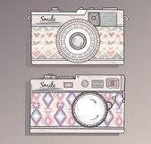 Retro fotokameror in. vintage kamera — Stockvektor