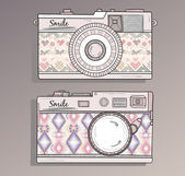 Retro photo cameras set. Vintage camera — Stockvector