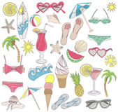 Summer beach elements set — Stock Vector