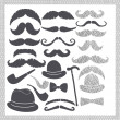 Stock Photo: Vintage set with mustaches, hats and pipes