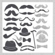 Vintage set with mustaches, hats and pipes — Stock Photo