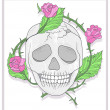 Skull and roses vector illustration — 图库照片