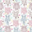 Cute owl seamless pattern — Stock Photo #12271720