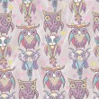 Stock Photo: Cute owl seamless pattern