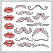 Stock Photo: Retro lips and mustaches elements set