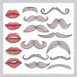 Retro lips and mustaches elements set — Stockfoto