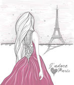 Girl looks at eiffel tower. Hand Drawn paris postcard. — Stock Photo