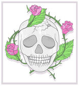 Skull and roses vector illustration — Stock Photo