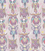 Cute owl seamless pattern — Stock Photo