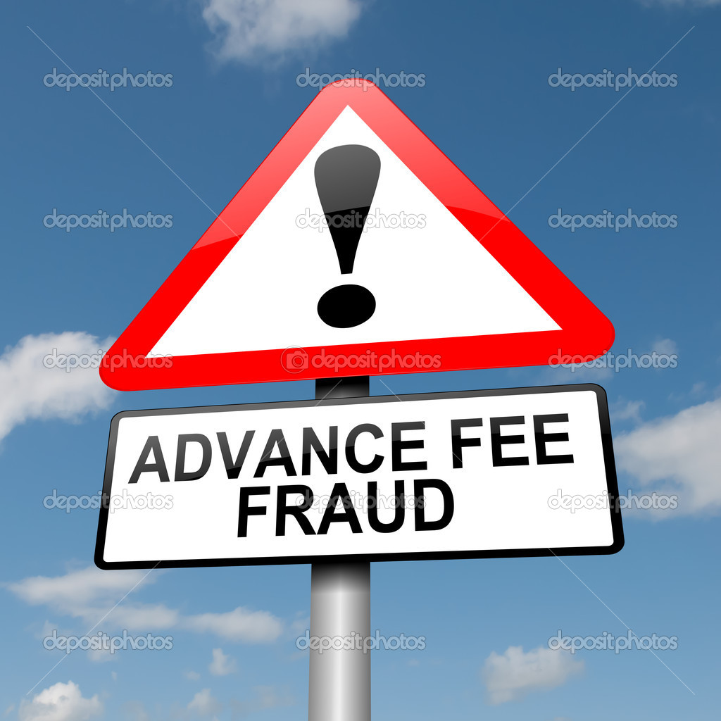 Illustration depicting a road traffic sign with an advance fee fraud  concept. Blue sky background. — Stock Photo #11106442