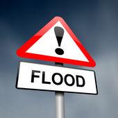 Flood warning sign. — Stock Photo