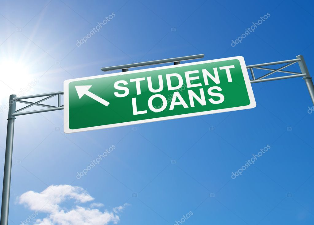 Illustration depicting a highway gantry sign with a student loans concept. Blue sky background.  Stock Photo #11282306