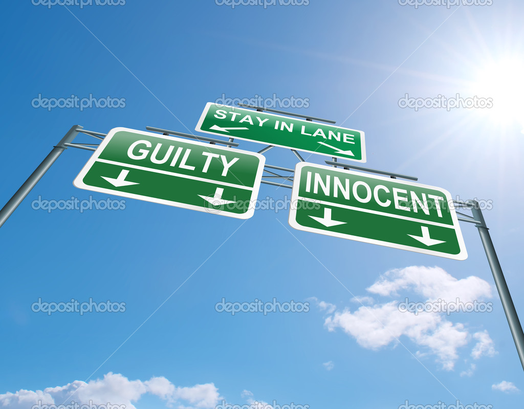 Illustration depicting a highway gantry sign with a innocent or guilty concept. Blue sky background.  Stock Photo #11444115