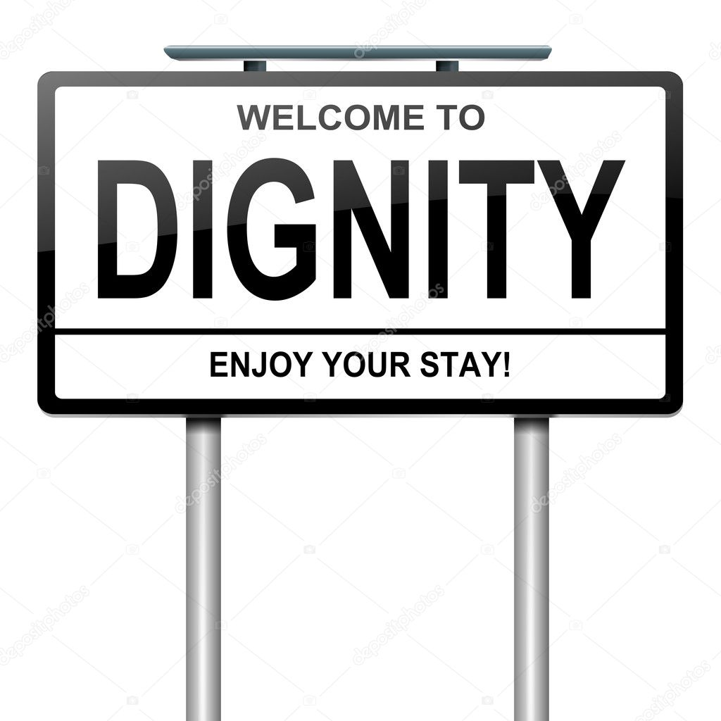 Illustration depicting a white roadsign with a dignity concept. White background. — Stock Photo #11953270