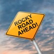 Stock Photo: Rocky road ahead.