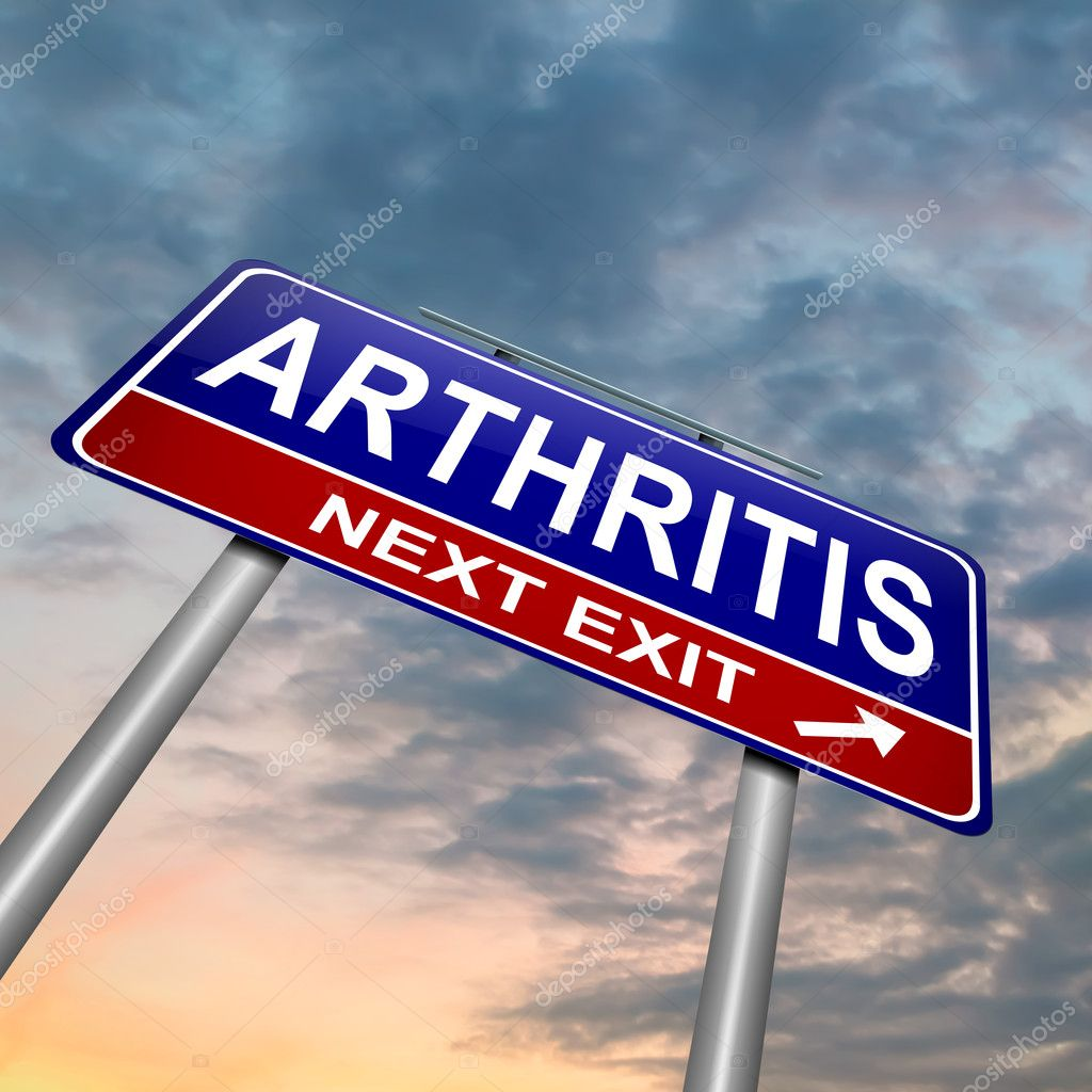 Illustration depicting a roadsign with an arthritis concept. Dusk sky  background. — Stock Photo #12377923