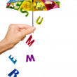 Background with hand, summer umbrella and letters - Stockfoto