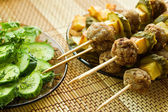 Closeup meatballs kebab — Stockfoto