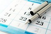 Ink pen and a calendar — Stock Photo