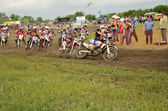 Start holeshot parts the motocross group of riders the MX2 — Stock Photo