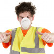Industrial man with a mask — Stock Photo