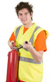 Fireman with an extinguisher — Stock Photo
