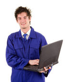 Worker with a laptop — Stock Photo
