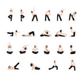 Photo set of pregnant woman doing exercises — Stock Photo