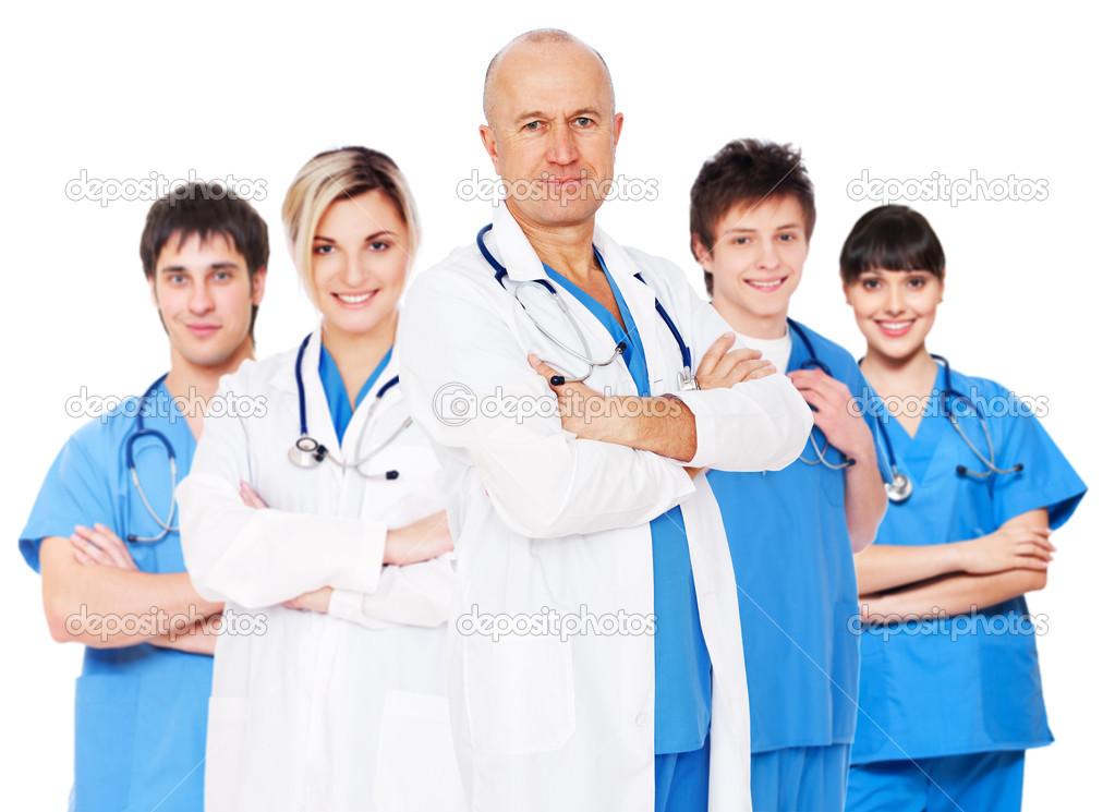 Doctor and his team isolated on white background  Stock Photo #10792710