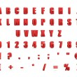 Red 3d alphabet and signs isolated on white - Stockfoto