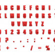 Red 3d alphabet and signs isolated on white - Stock Photo
