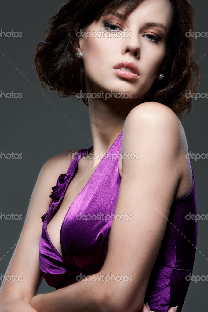 Portrait of sexy glamor model over dark background — Stock Photo #11465575