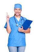 Doctor woman with her finger up — Stock Photo