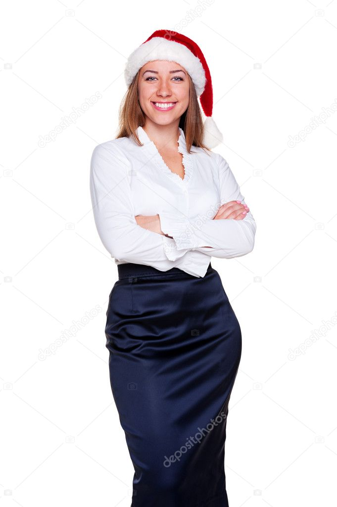 Attractive business woman in santa hat posing over white background — Stock Photo #11589386
