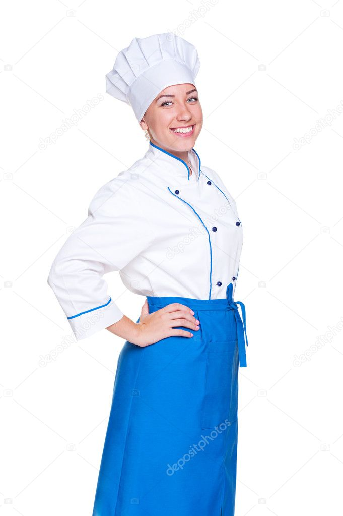 Happy female cook in uniform posing against white background — Stock Photo #11589434