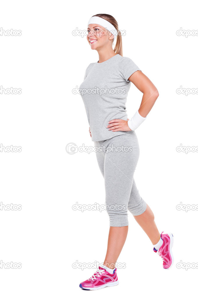 Fitness woman doing exercises over white background — Stock Photo #11708868
