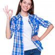 Woman showing ok sign — Stock Photo #11857780