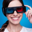 Young woman in 3d glasses — Stock Photo