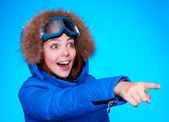 Happy and amazed skier — Stock Photo